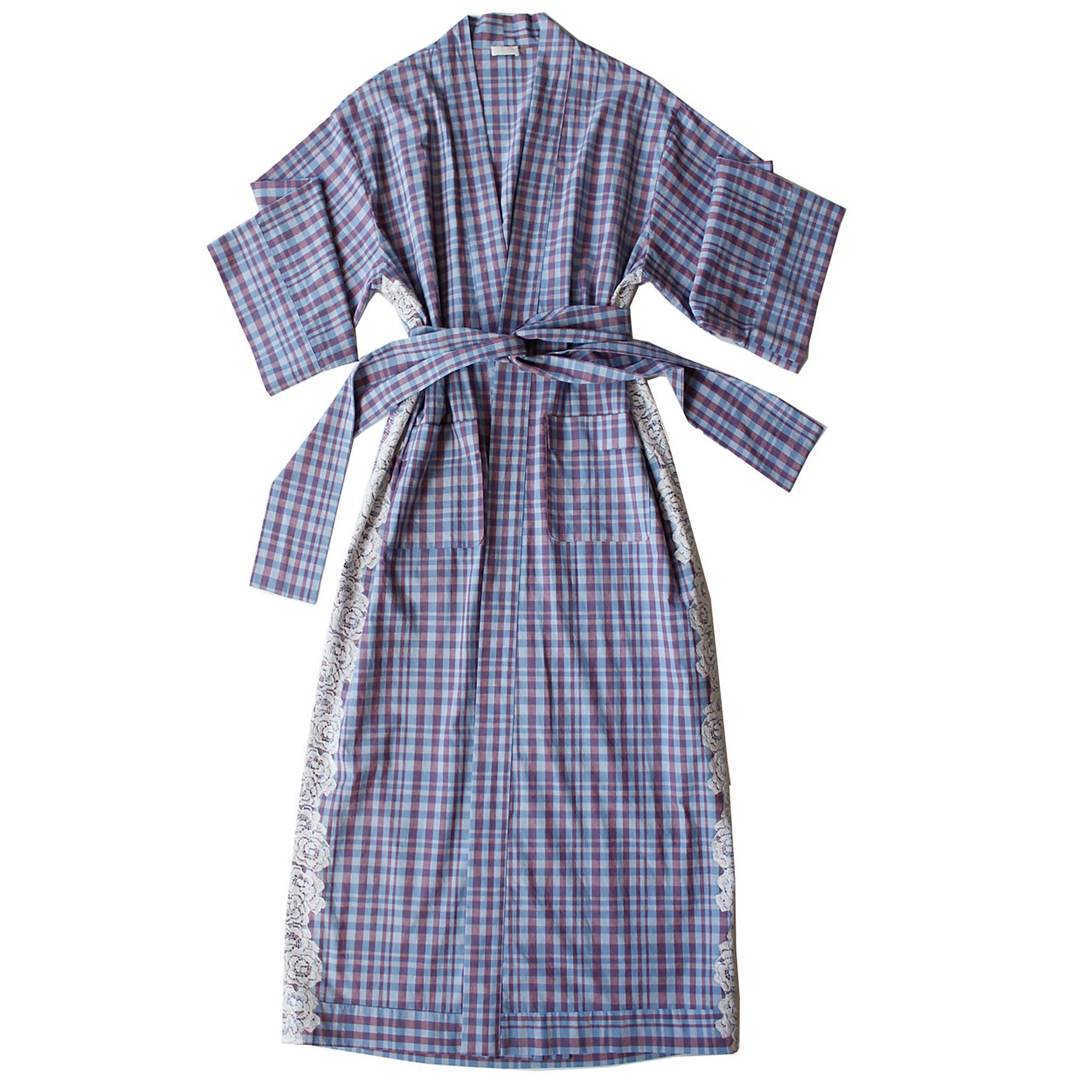 Asteria Kimono Robe in Italian Plaid Cotton