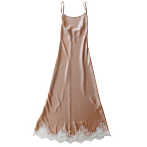 Juno Slip in Rose Gold Silk Charmeuse with Lace