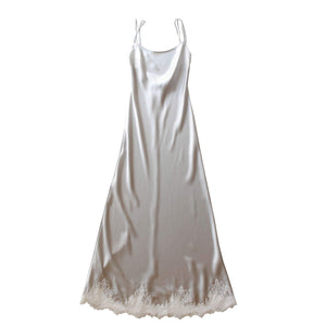 Juno Slip in Platinum Silk Charmeuse with Lace