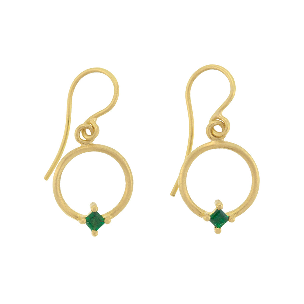 The Floating Emerald Earring