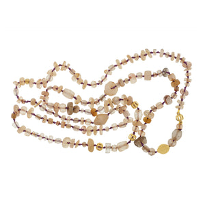 A Mali Quartz and Gold Bead Necklace