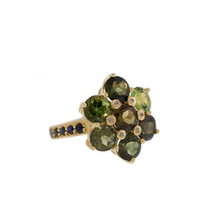The Green Tourmaline Blooming Flower Ring