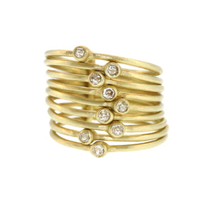 Nine Part Diamond Lucky Star Ring