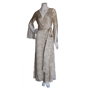 Iris Wrap Robe in Dulwich Park Liberty Print Silk Satin