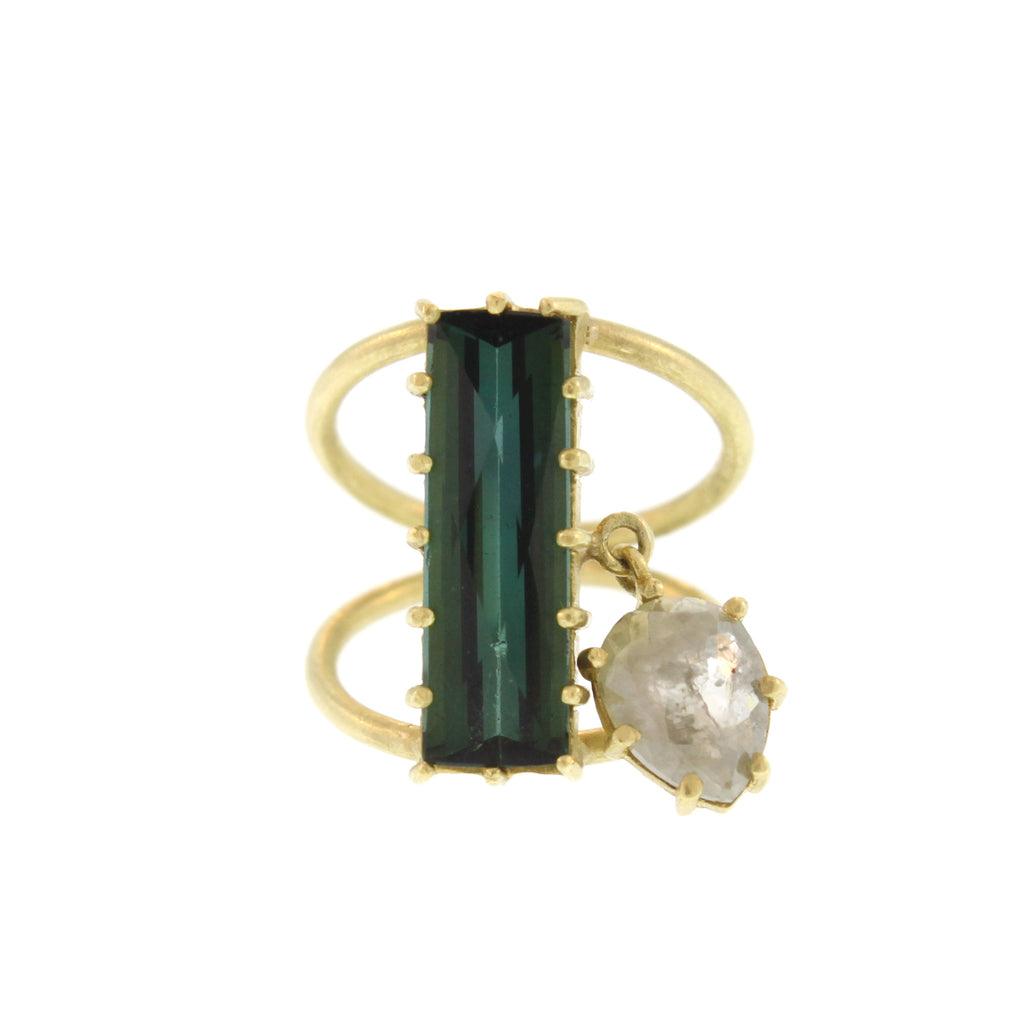 Tourmaline and Diamond Dangle Ring