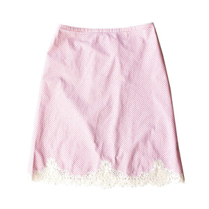 Kali Half Slip in Italian Cotton Pink Stripe with Lace