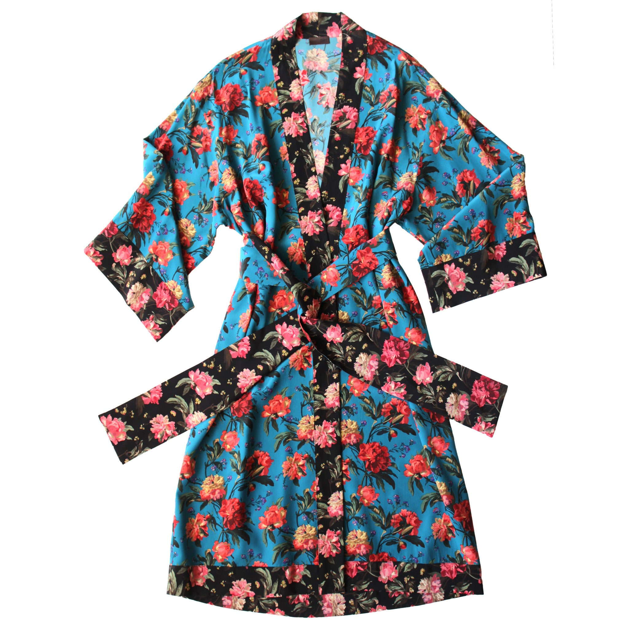 Selene Dressing Gown in Print Block Turquoise Decadent Blooms Liberty Silk Crepe De Chine