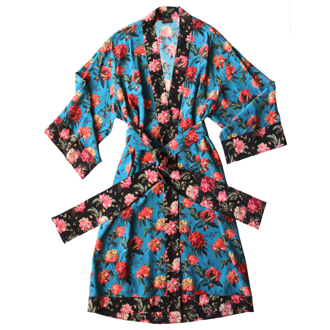 140184f0270eb Selene Dressing Gown in Print Block Turquoise Decadent Blooms Liberty Silk  Crepe De Chine