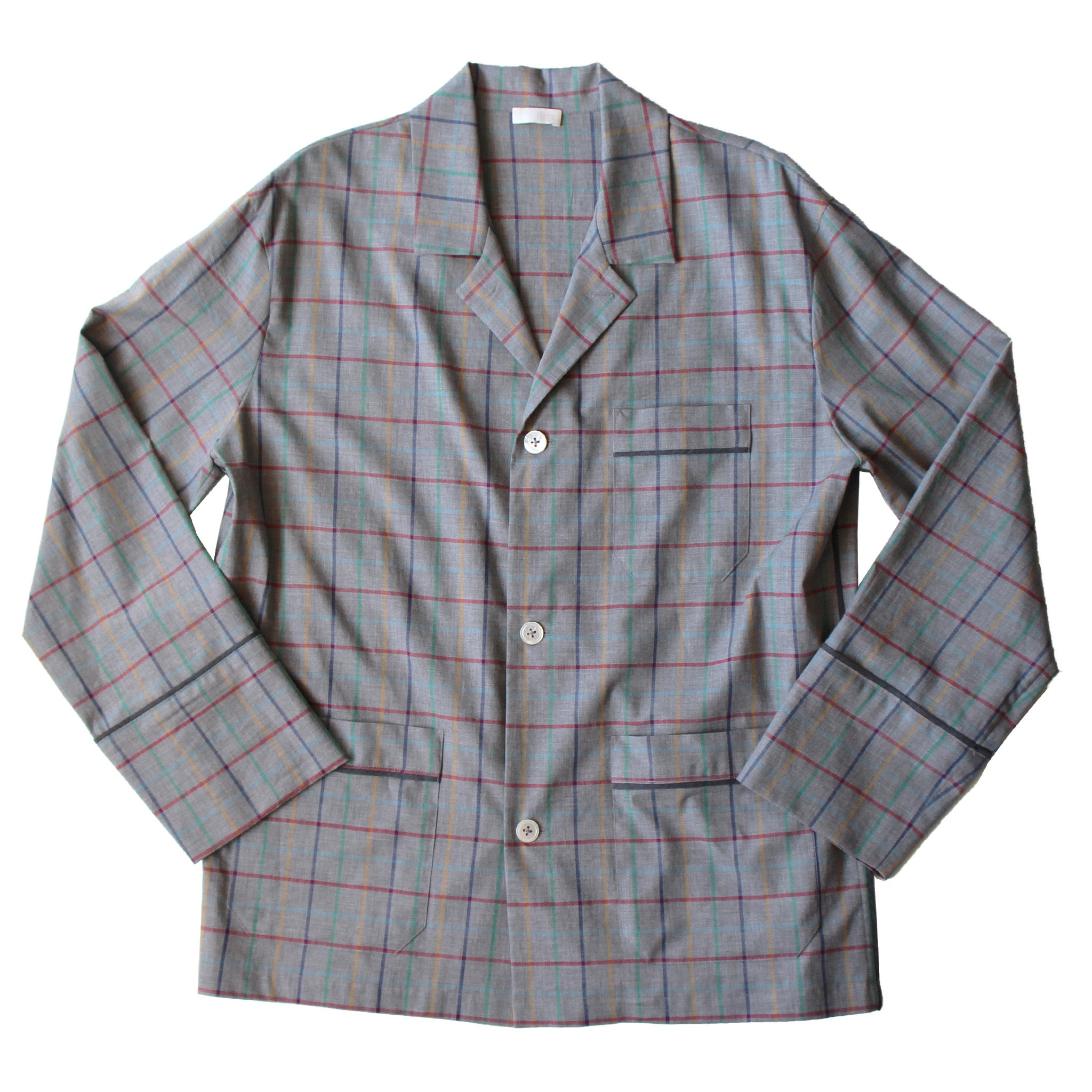 Hyperion Pajama Shirt in Grey Check Italian Cotton