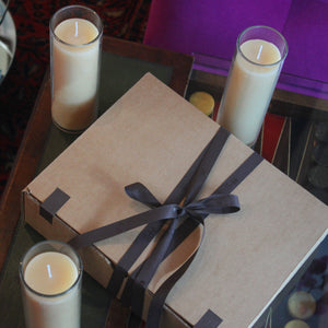Beeswax Candle Gift Set of 3: Bergamot, Frankincense & Patchouli