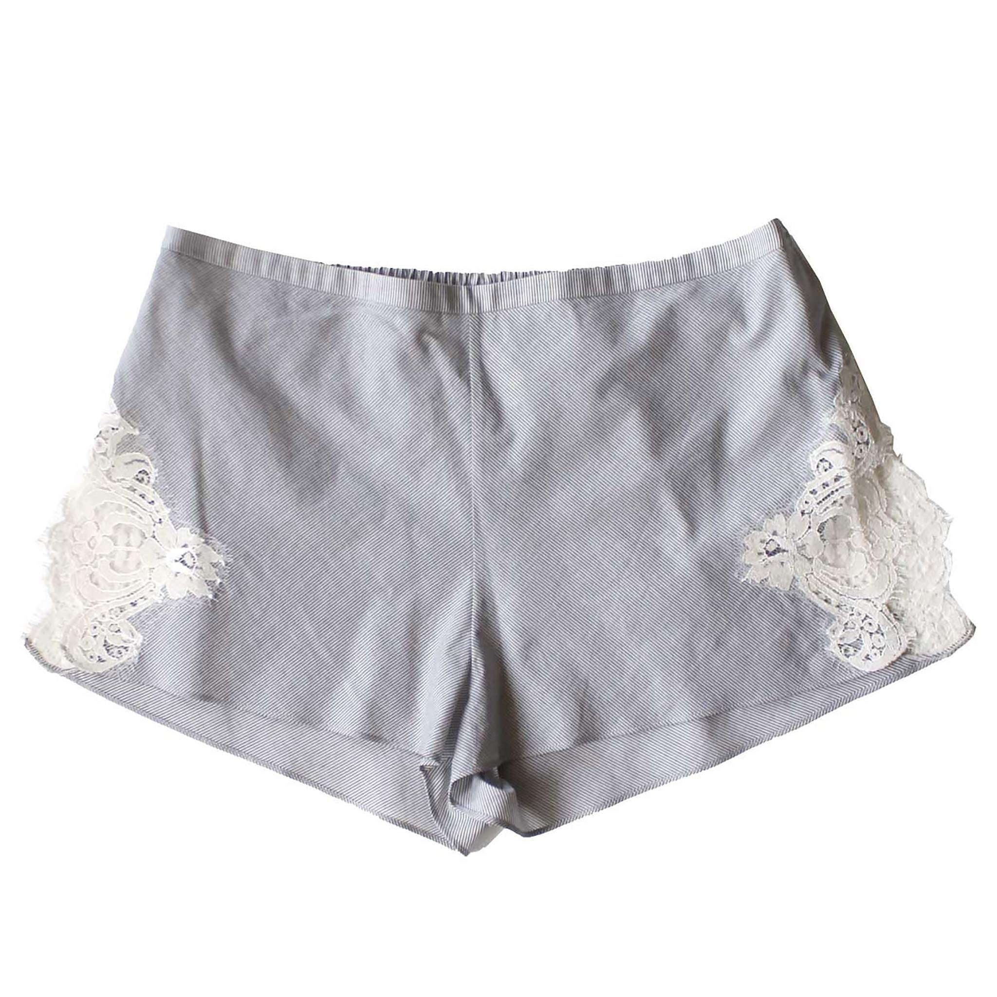 FINAL SALE - Sita Knickers in Italian Grey Stripe Cotton