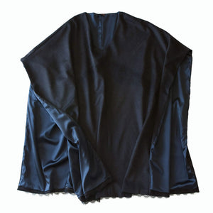 Artemis Wool Cashmere Mink Cape with French Lace