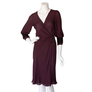 Hestia Wrap Robe in Garnet Silk Double Georgette