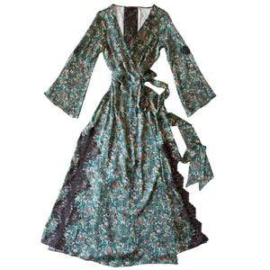 Iris Wrap Robe in Emerald Wildflowers Liberty Print Silk Satin