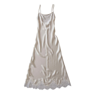 Juno Slip in Pearl Silk Charmeuse with Lace