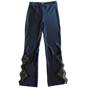 Diana Trouser in Sapphire Silk Charmeuse and Lace