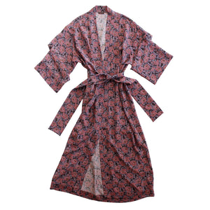 Asteria Kimono Robe in Day Dream Dusty Rose Liberty Print Silk Crepe De Chine