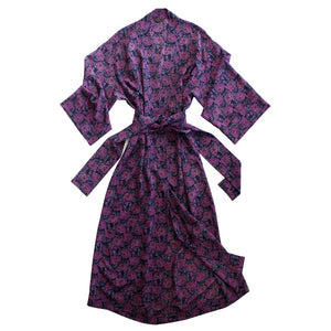 Asteria Kimono Robe in Day Dream Violet Liberty Print Silk Crepe De Chine