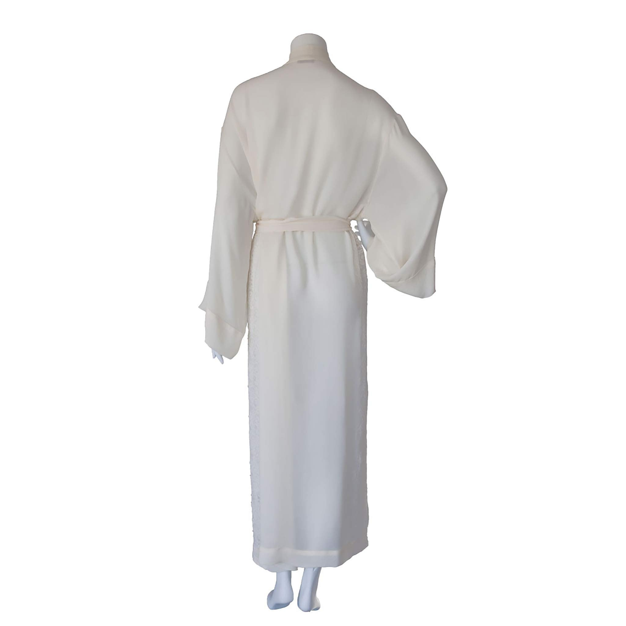 Asteria Kimono Robe in Pearl Silk Double Georgette