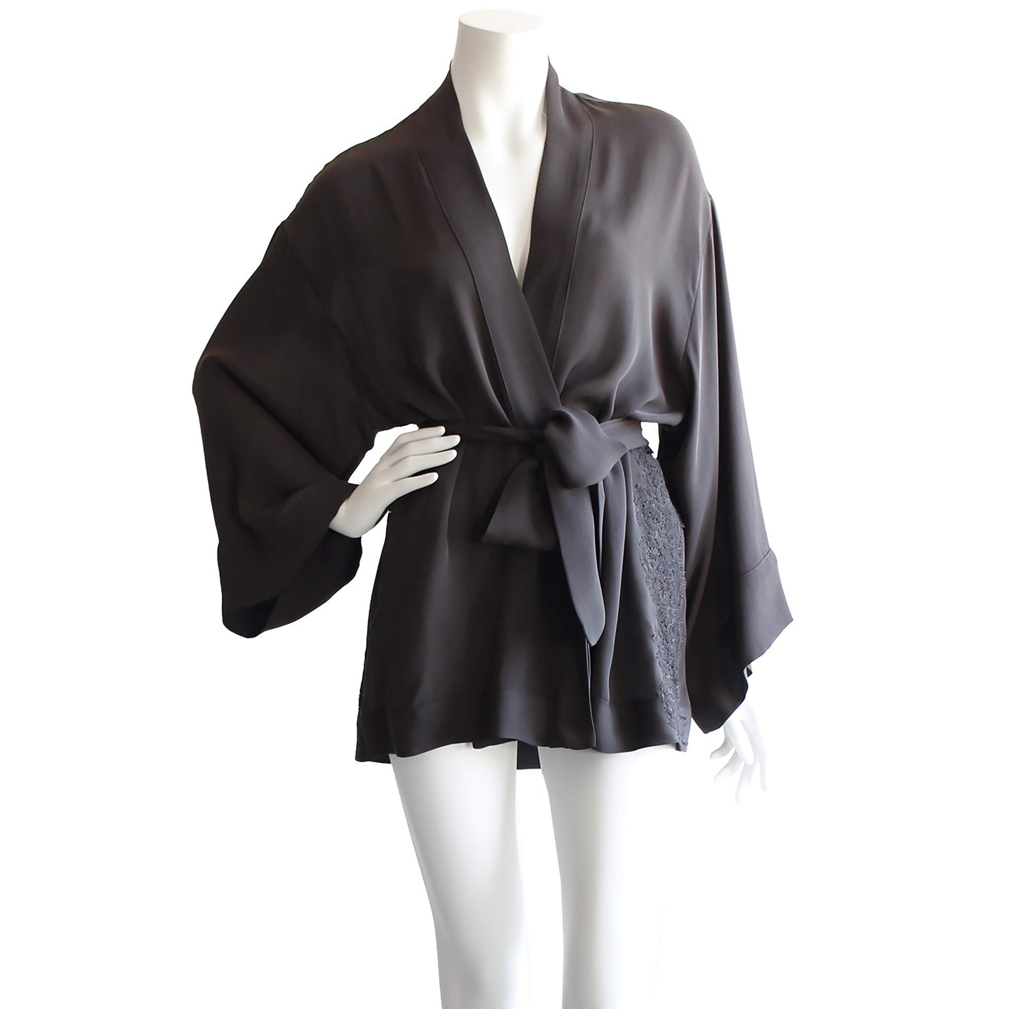 Aurora Kimono Robe in Diamond Slice Silk Double Georgette
