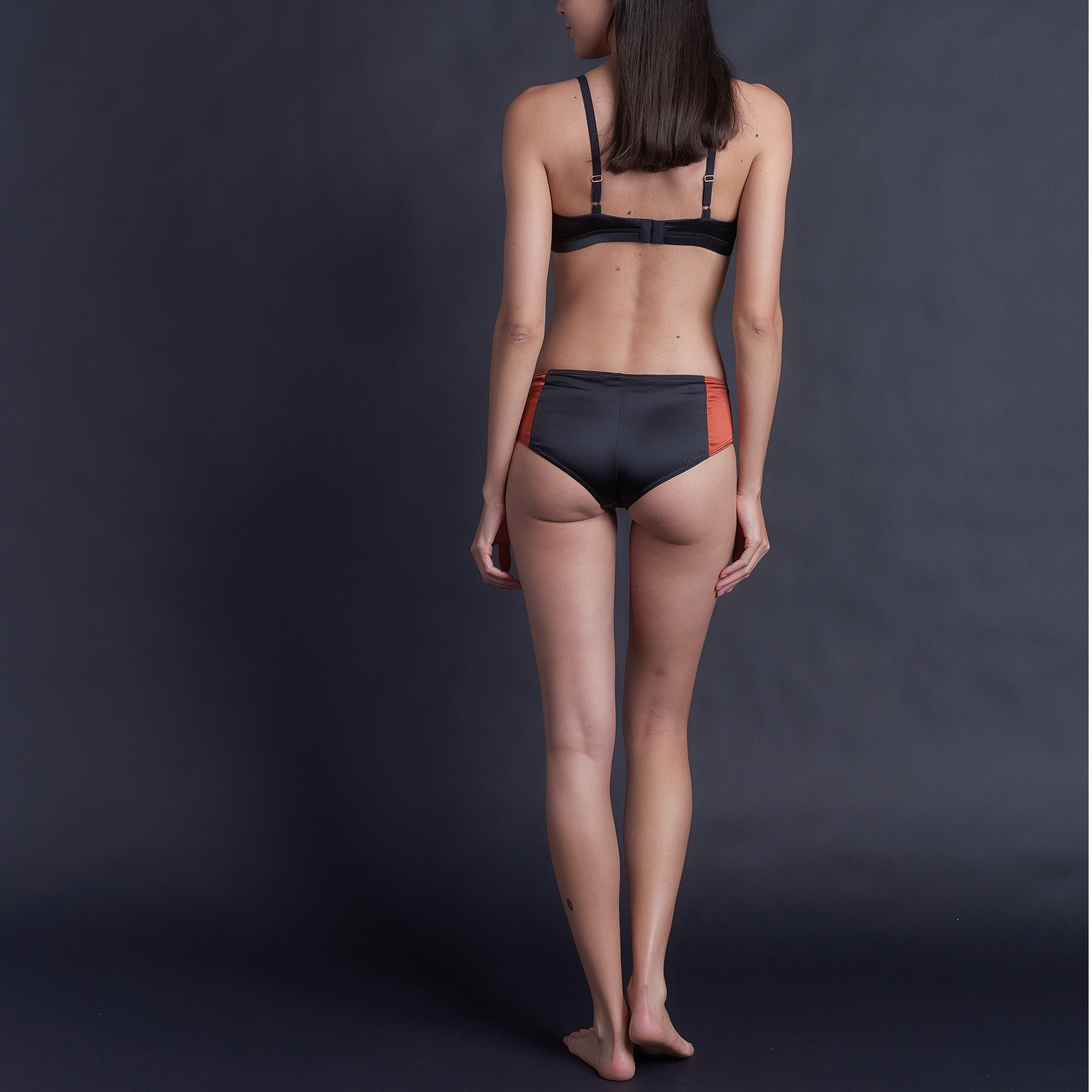 Adele Soft Bralette in Cinnabar & Black Stretch Silk Charmeuse