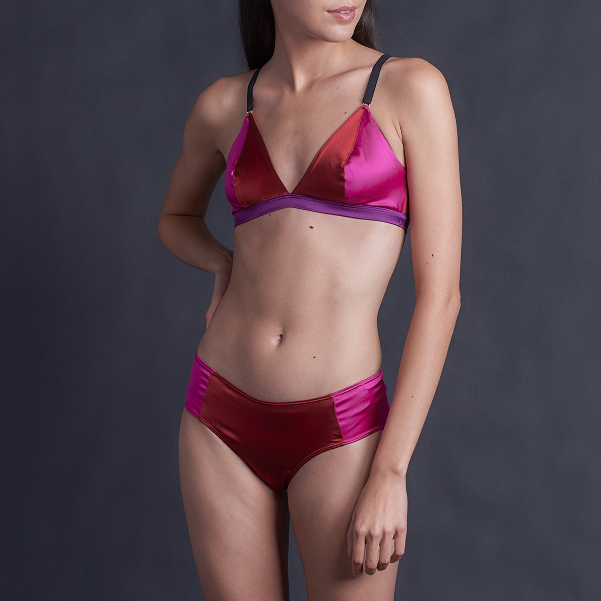 Lena Bikini Brief in Ruby, Rubellite and Pink Tourmaline Stretch Silk Charmeuse