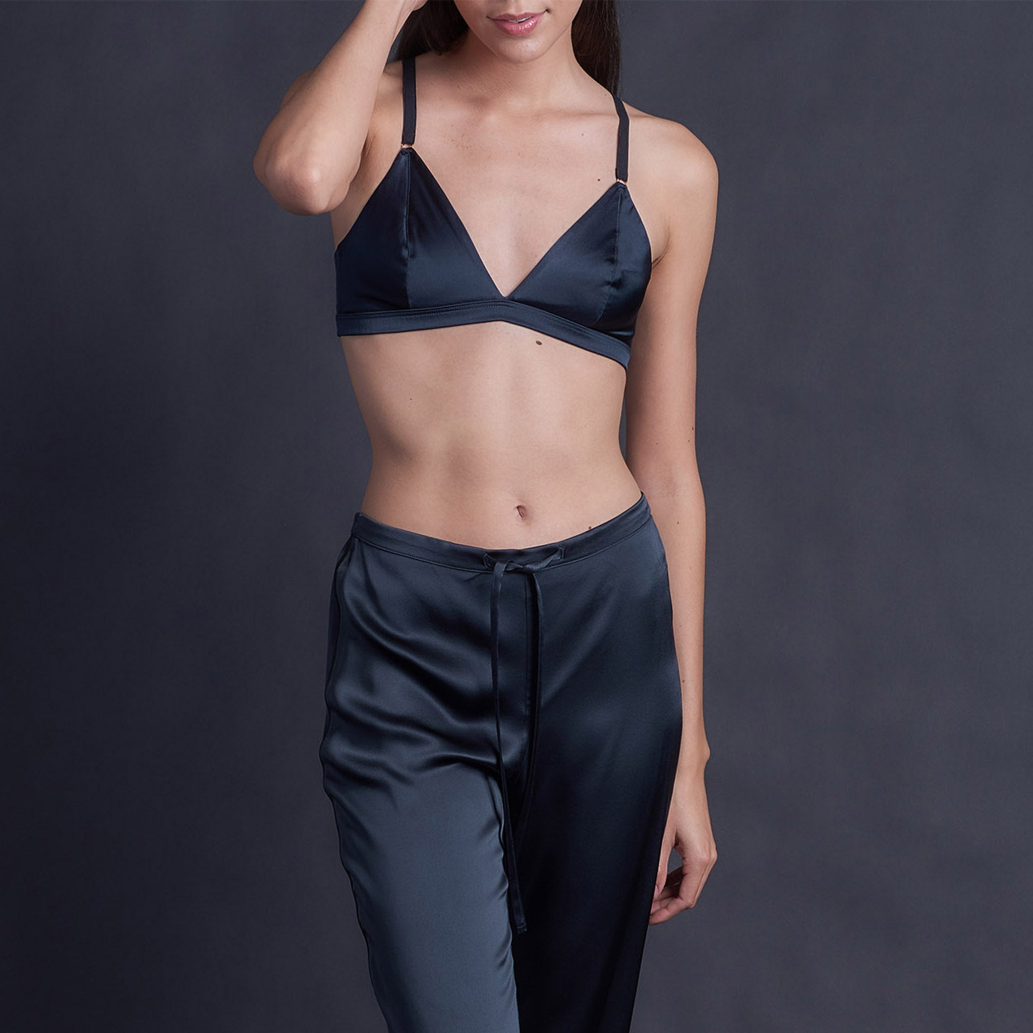 Adele Soft Bralette in Sapphire Stretch Silk Charmeuse
