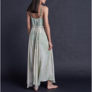 One of a Kind Antheia Slip in Hand Painted Silk Crepe de Chine