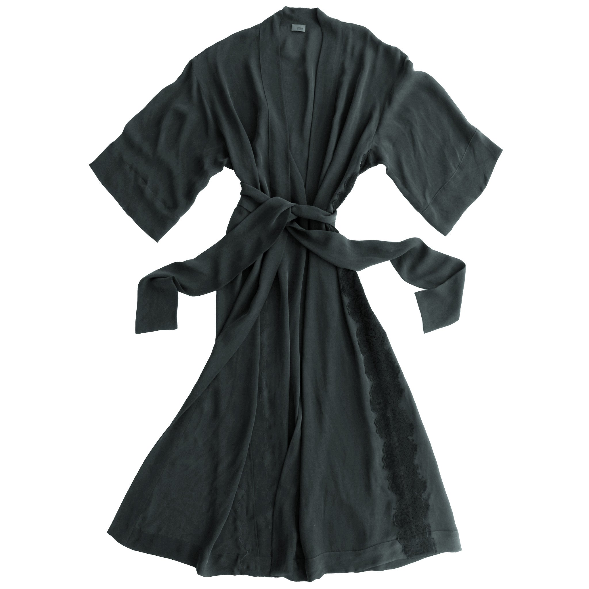 Asteria Dressing Gown in Black Double Georgette