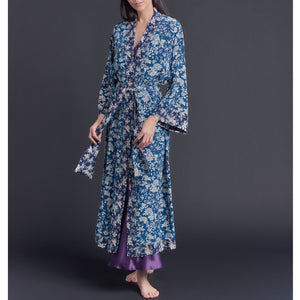Asteria Kimono Robe in Blue Ceremony Liberty of London Print Silk Crepe De Chine