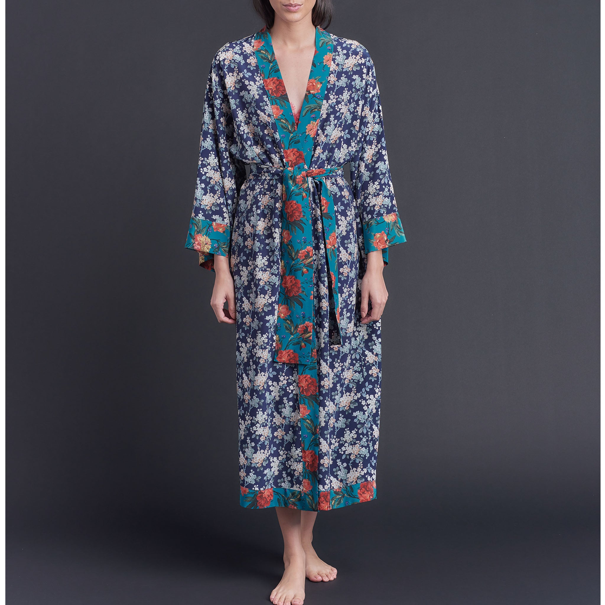 One of a Kind Asteria Kimono Robe in Blue Josephine Liberty of London Print Silk Crepe De Chine