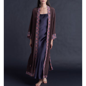 Asteria Kimono Robe in Chocolate Brown Silk Crepe De Chine with Liberty Print Contrast Silk