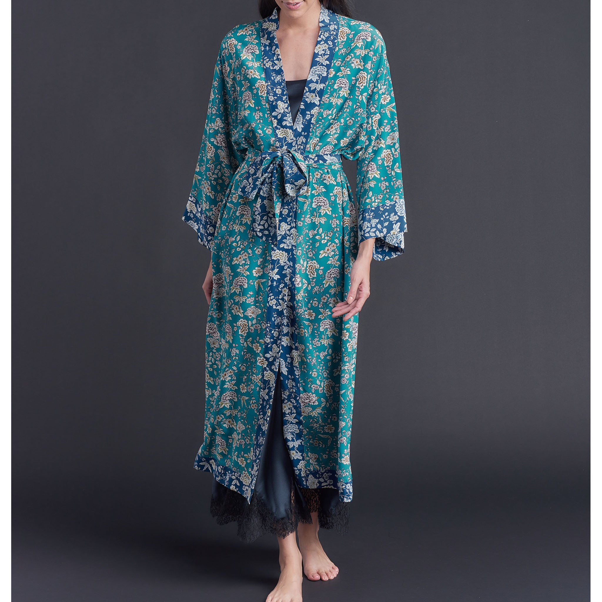 One of a Kind Asteria Kimono Robe in Turquoise Ceremony Liberty of London Print Silk Crepe De Chine