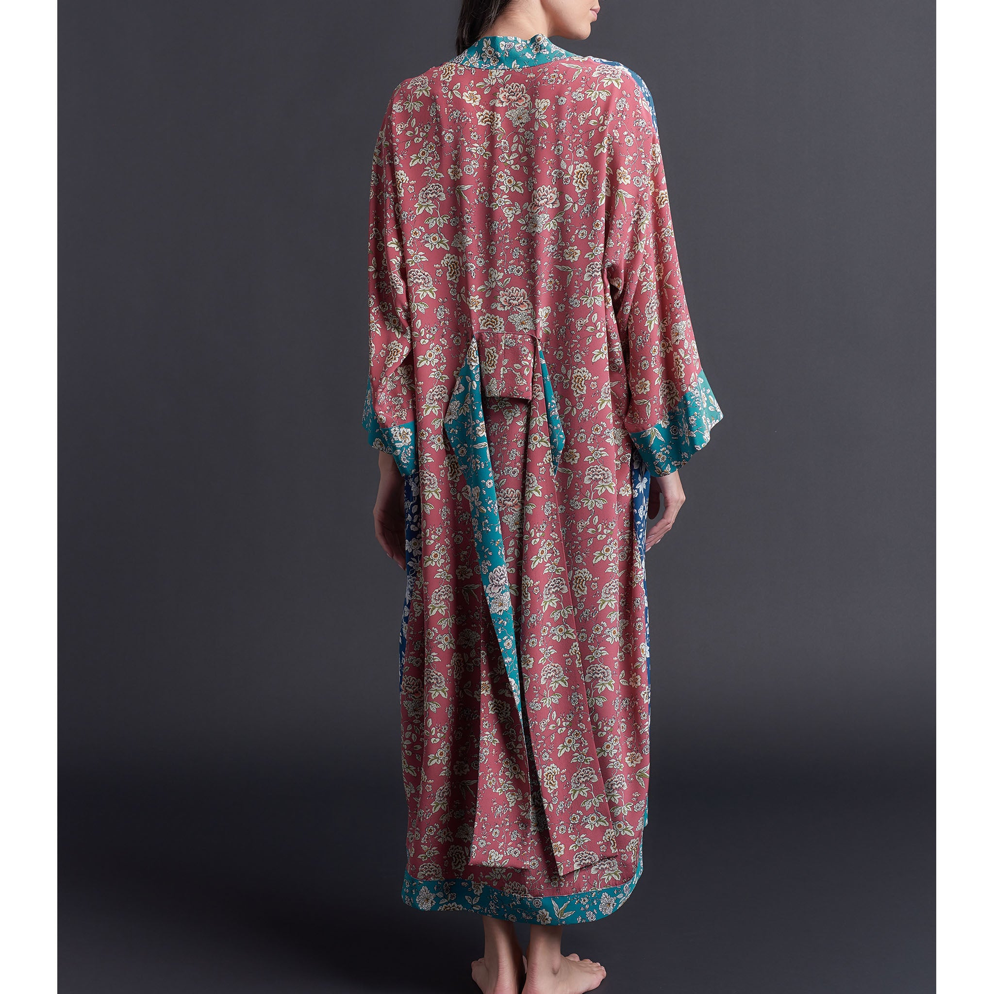 Asteria Kimono Robe in Liberty of London Print Block Ceremony Blues Silk Crepe De Chine