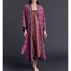 Asteria Kimono Robe in Gemma Rose Liberty of London Print Silk Crepe De Chine