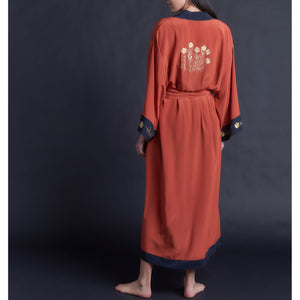 Special Edition Embroidered Asteria Robe in Cinnabar Crepe de Chine