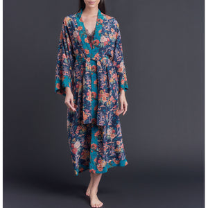 One of a Kind Asteria Kimono Robe in Blue Lake Ada Liberty of London Print Silk Crepe De Chine