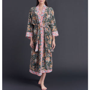 One of a Kind Asteria Kimono Robe in Lake Ada Josephine Liberty of London Print Silk Crepe De Chine