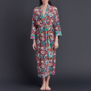 Asteria Kimono Robe in Combination Poppy Liberty of London Print Silk Crepe De Chine