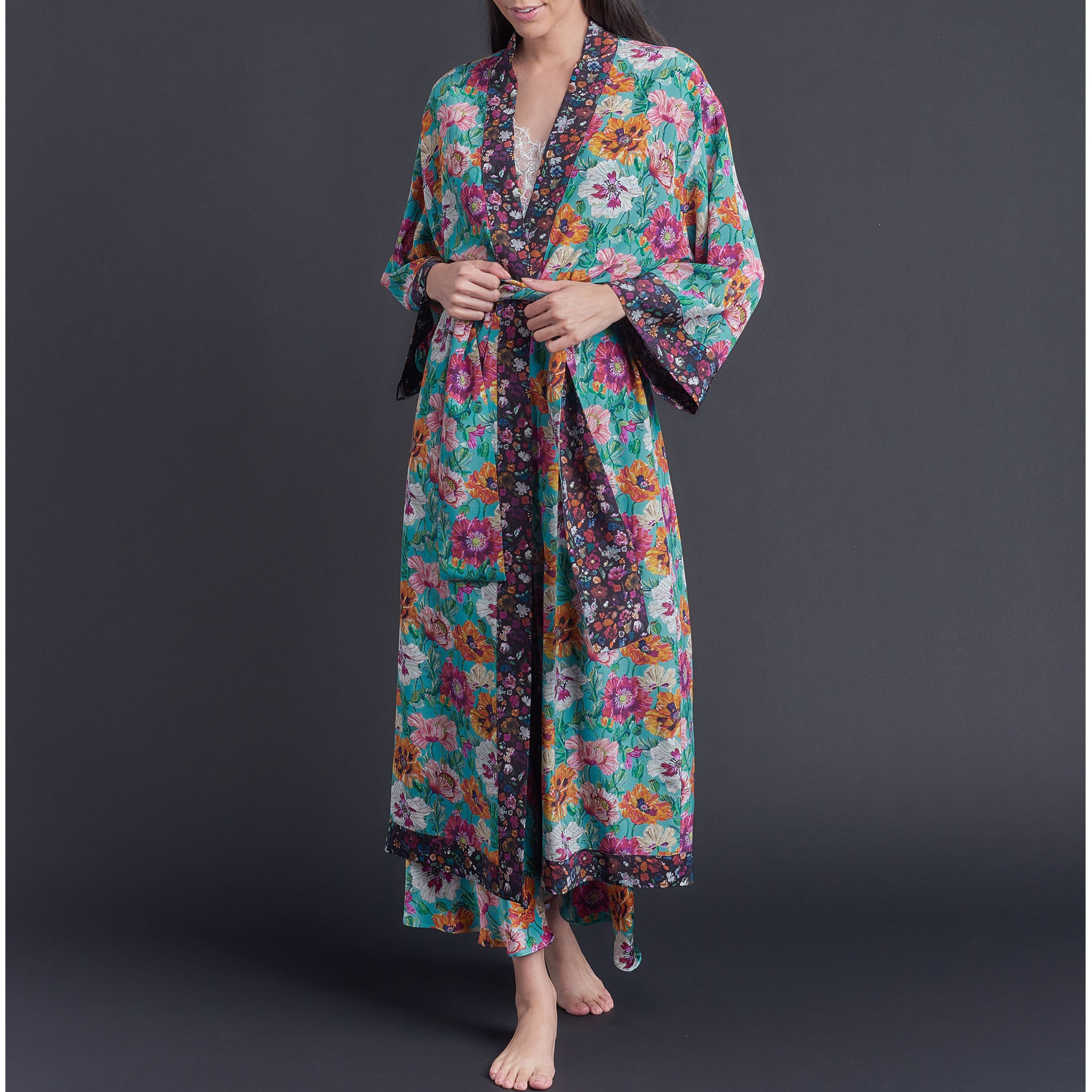 Asteria Kimono Robe in Poppy Liberty of London Print Silk Crepe De Chine