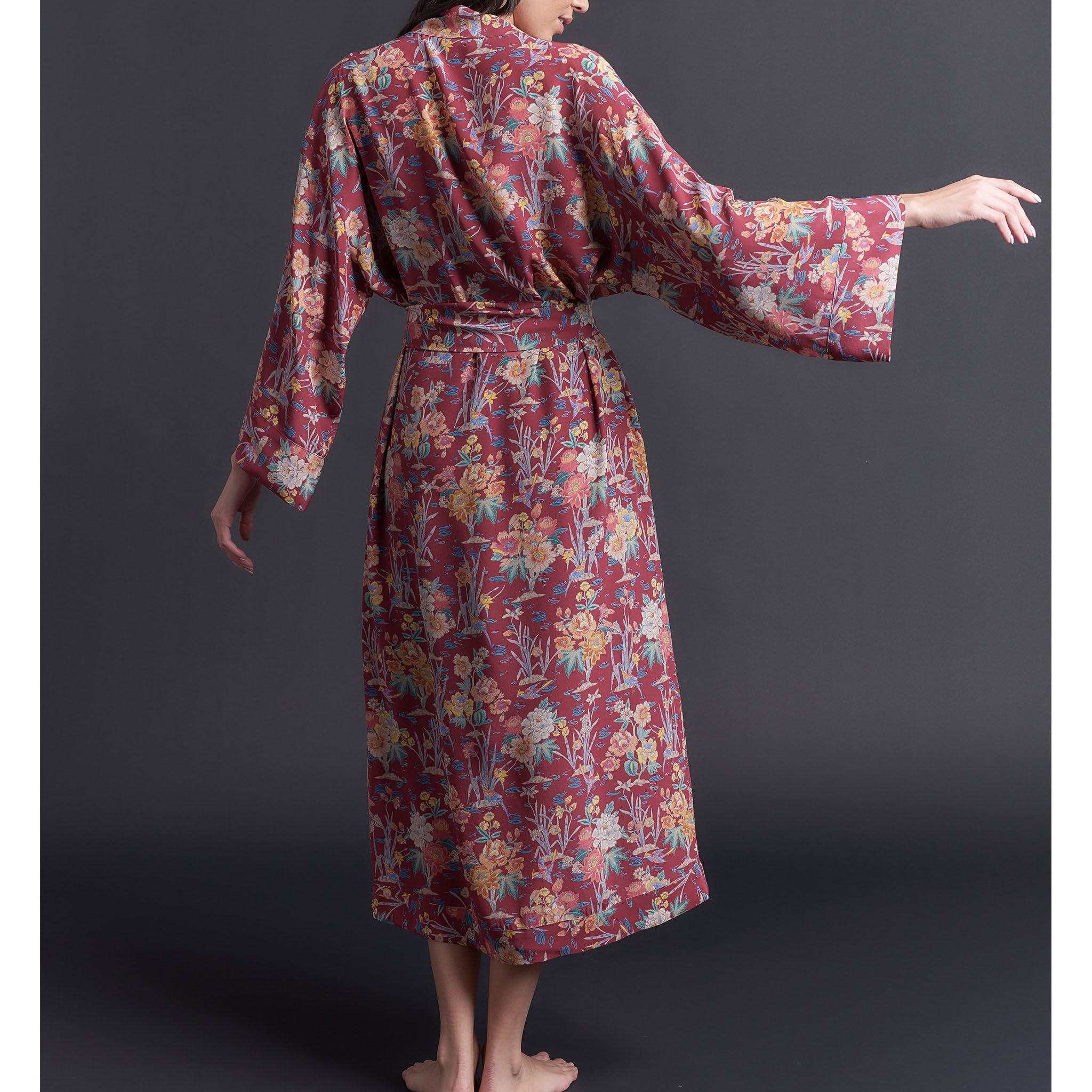 Asteria Kimono Robe in Liberty of London Red Lake Ada Print Silk Crepe De Chine