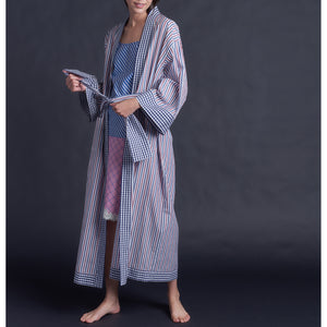 Asteria Kimono Robe in Italian Cotton Stripe