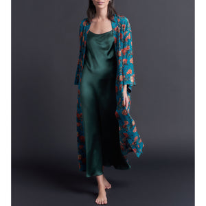 Asteria Kimono Robe in Liberty of London Turquoise Decadent Blooms Silk Crepe De Chine