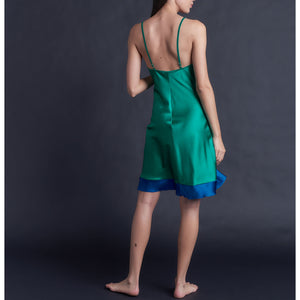 Athena Mid Length Slip in Color Block Emerald & Tanzanite Silk Charmeuse