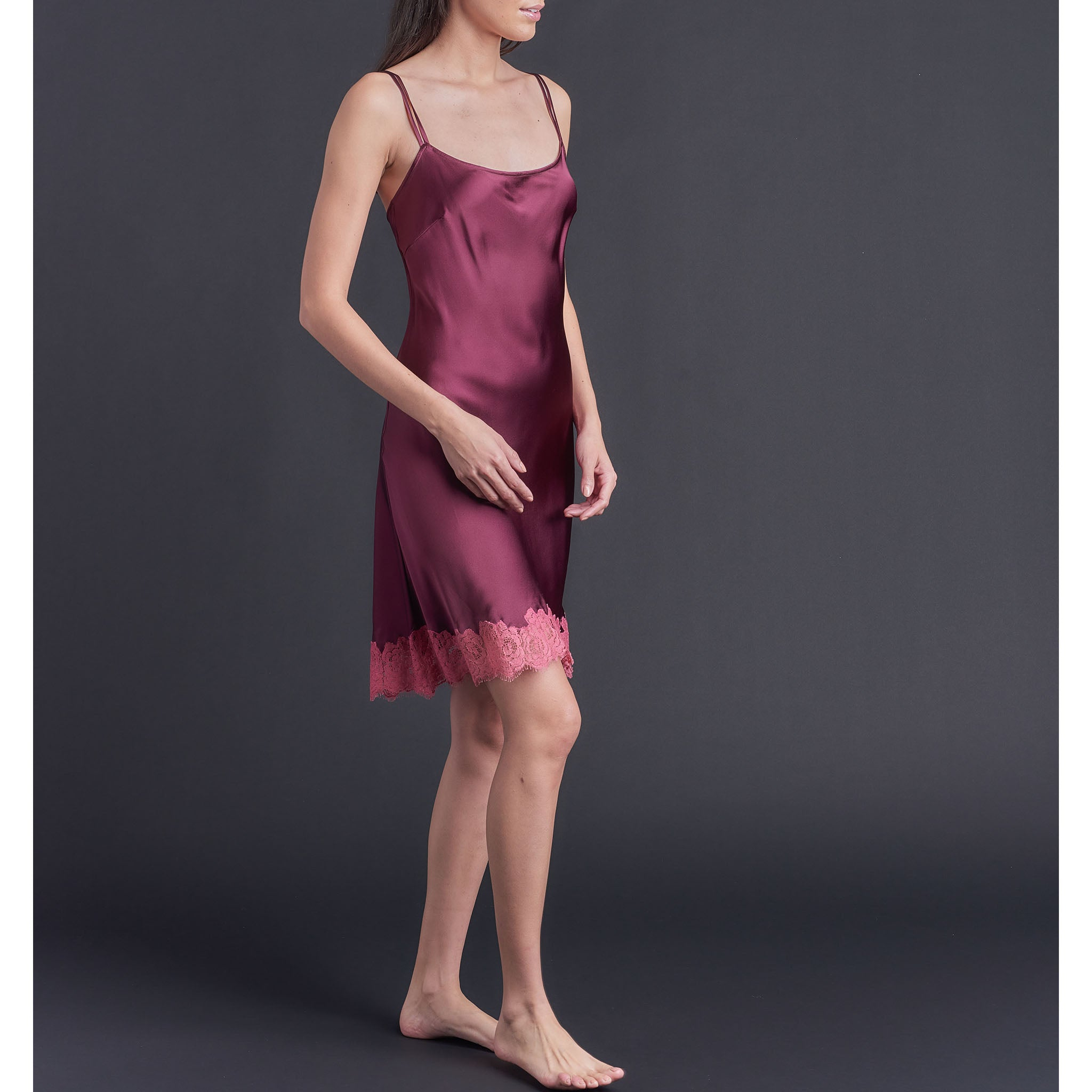 Athena Slip in Garnet Silk Charmeuse and Rubellite Lace