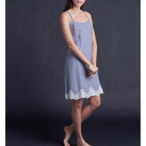 Athena Slip in Italian Navy Check Cotton