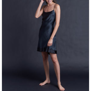 Athena Mid Length Slip in Color Block Black and Sapphire Silk Charmeuse
