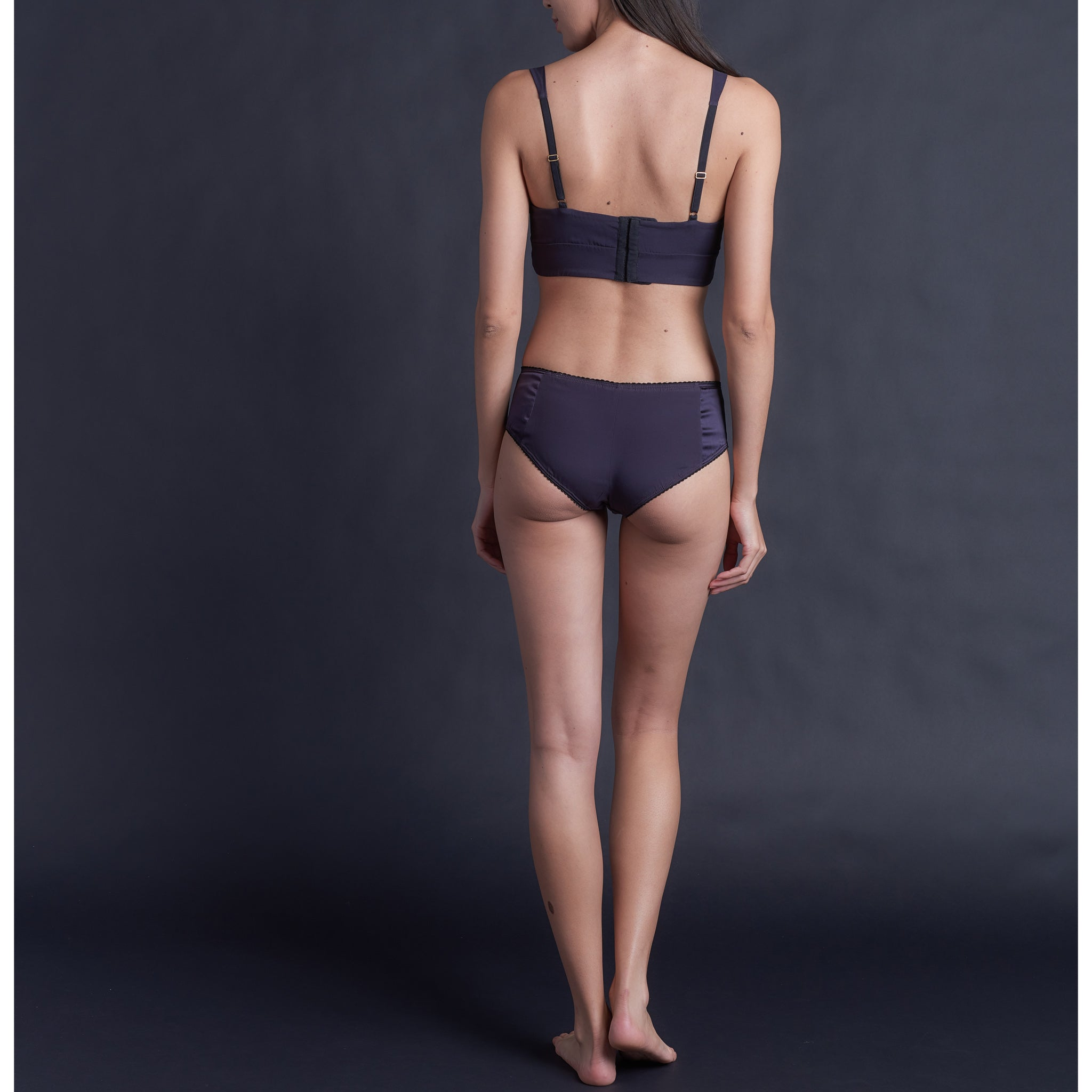 Hera Brief in Aubergine Stretch Silk Charmeuse