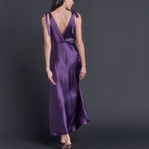 Ava Silk Charmeuse Slip in Violet