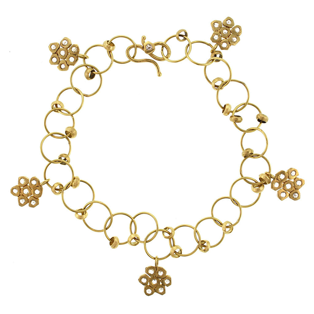 The Diamond Flower Charm Bracelet